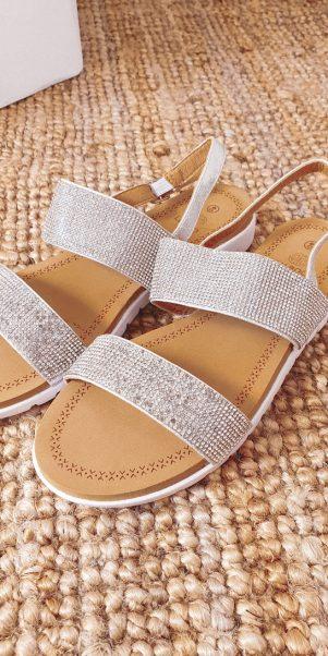 sandále strap strieborné