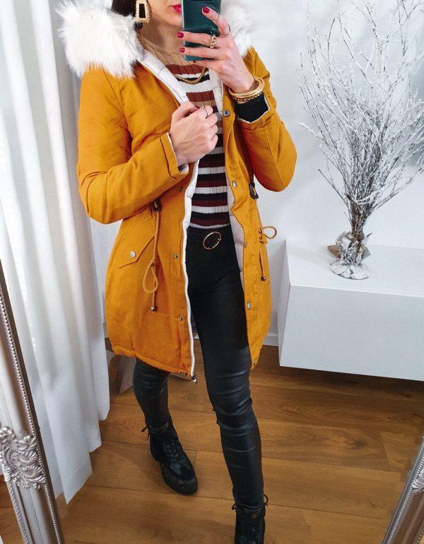 obojstranná zimná bunda horčicová s kožušinou