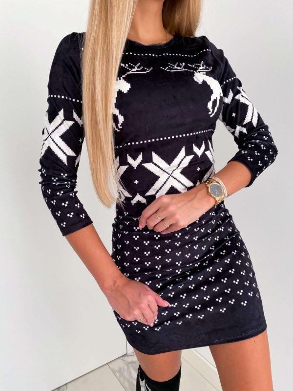 vianočné velúrové šaty sob tradition čierne