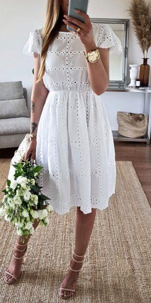 šaty evis biele krajkované