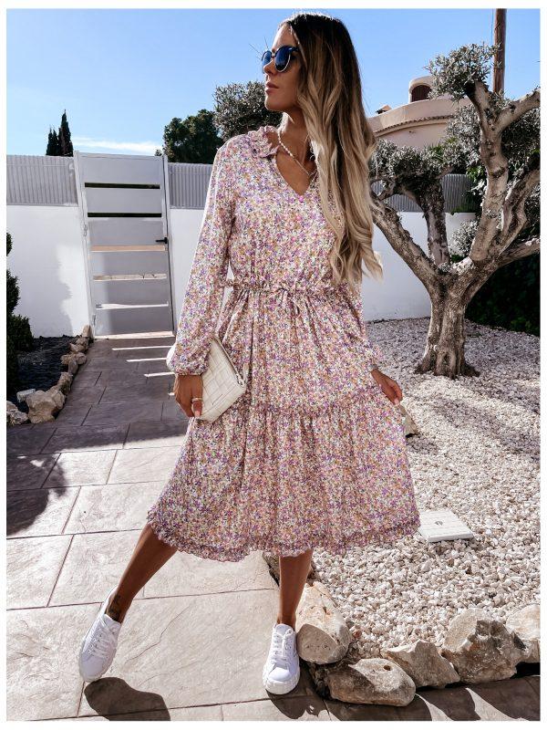 Midi šaty biely poodklad fialove kvety