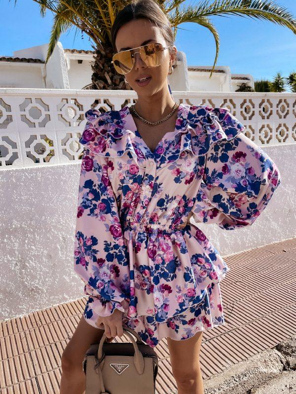 šaty luisi ružovo modré kvety