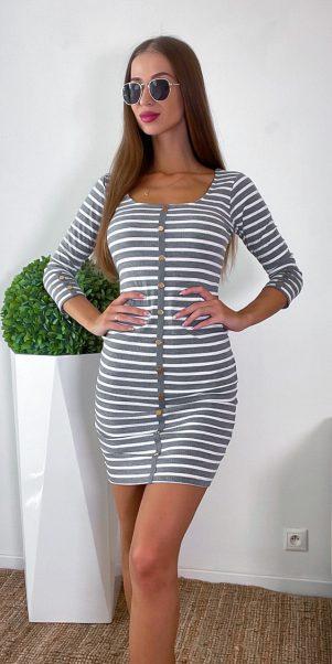 šaty úpletové bille sivé