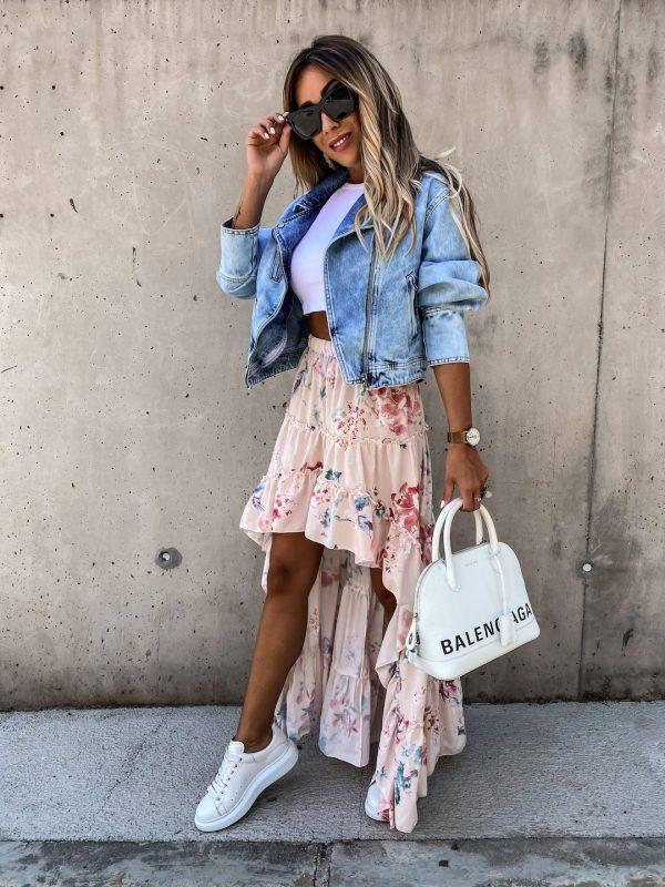 Asymetrická sukňa Zalla ružový podklad