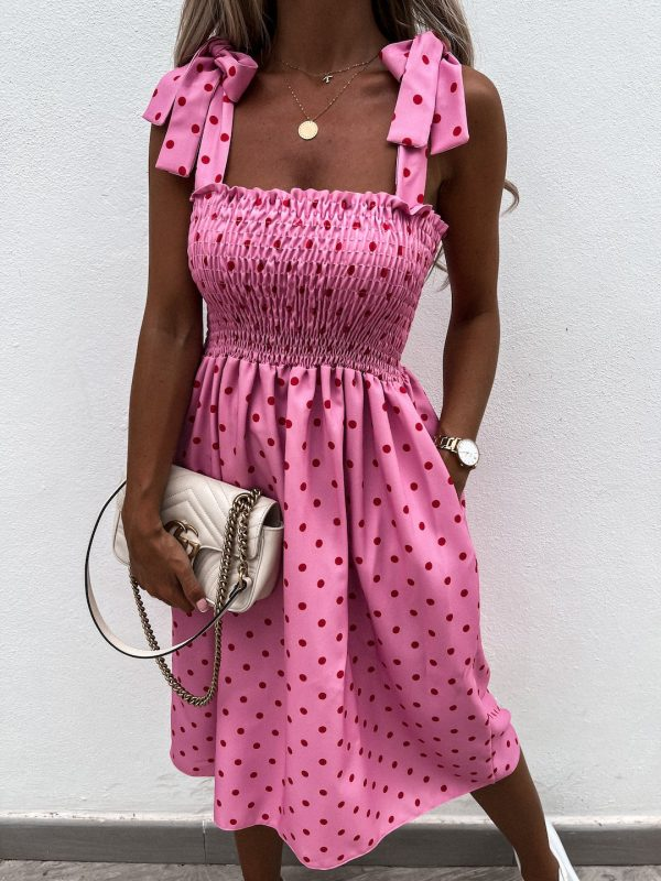 šaty inez ružové s bodkami