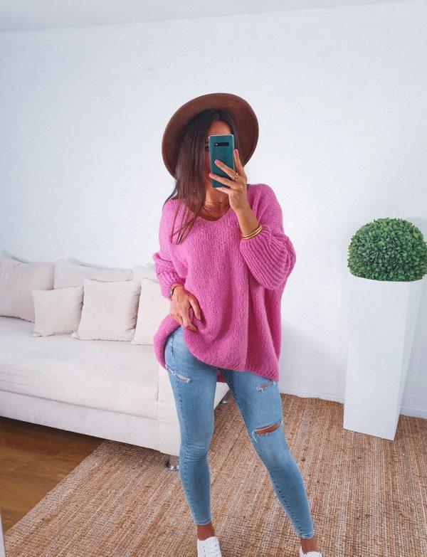 sveter peace ružový