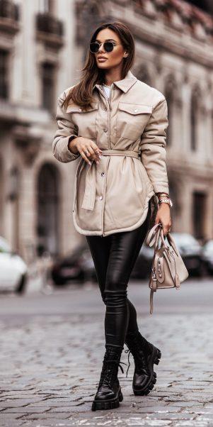 koženková bunda cascadde béžova