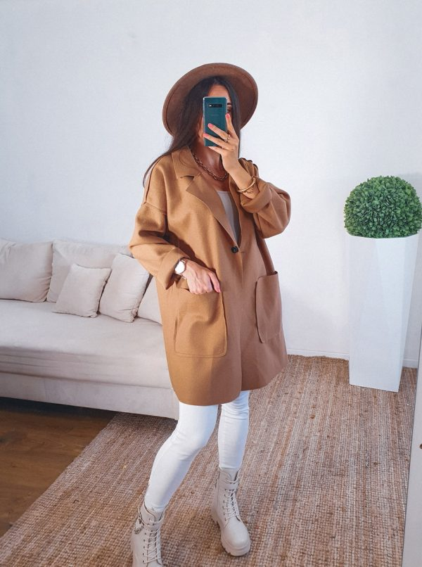 prechodný kabát pocket hnedý