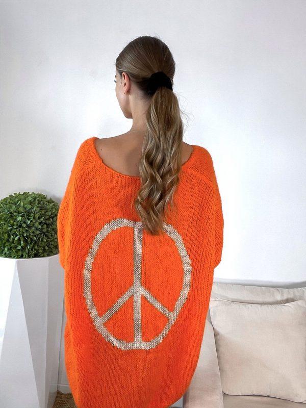 sveter peace oranžový