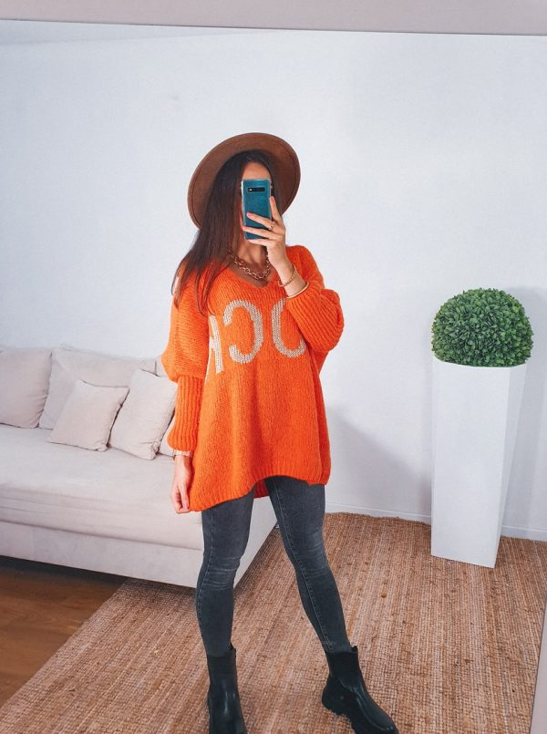 sveter rock oranžový