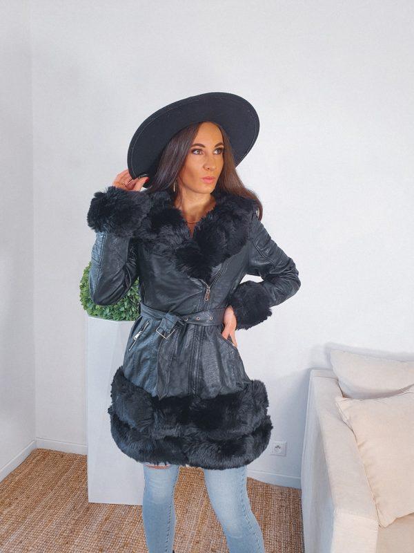 zateplená koženka s kapucňou Rilane čierna